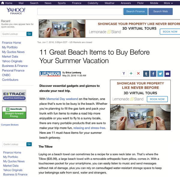 Yahoo! Finance - 11 Great Beach Items to Buy Before Your Summer Vacation featuring the tillow beach towel with pillow