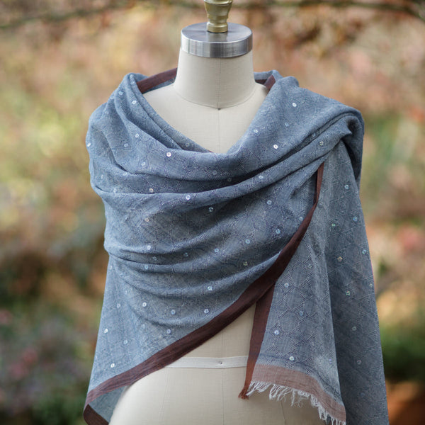Blue Jeweled Scarf