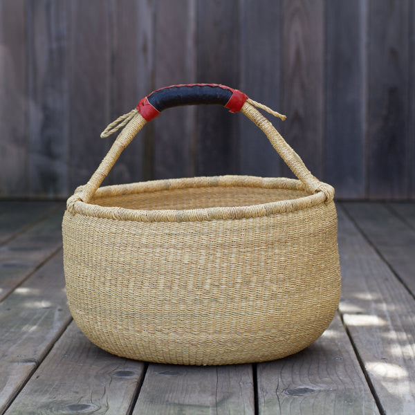 Handwoven Natural Round Basket