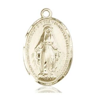 Miraculous Medal - 14K Gold - 3/4 Inch Tall by 1/2 Inch Wide