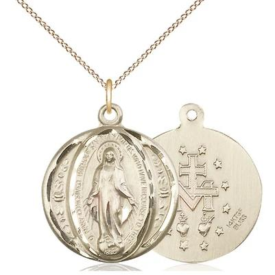 "Miraculous Medal Necklace - 14K Gold Filled - 7/8 Inch Tall by 3/4 Inch Wide with 18"" Chain"