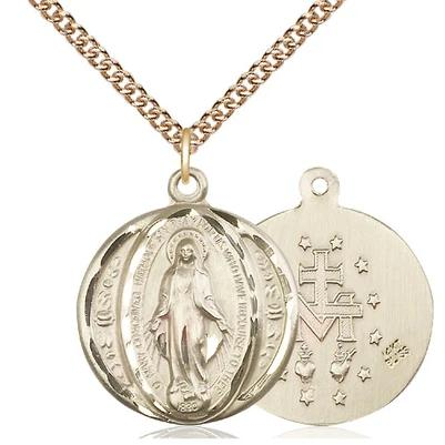 "Miraculous Medal Necklace - 14K Gold - 7/8 Inch Tall by 3/4 Inch Wide with 24"" Chain"