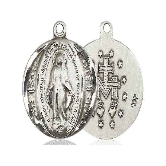 "Miraculous Medal Necklace - Sterling Silver - 7/8 Inch Tall by 3/4 Inch Wide with 18"" Chain"