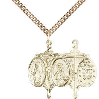 "Miraculous Medal Necklace - 14K Gold Filled - 7/8 Inch Tall by 5/8 Inch Wide with 24"" Chain"