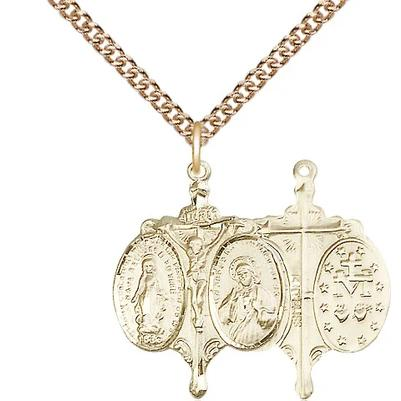 "Miraculous Medal Necklace - 14K Gold - 7/8 Inch Tall by 5/8 Inch Wide with 24"" Chain"