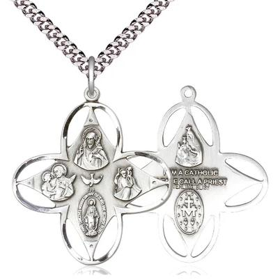 "4 Way Medal Necklace - Sterling Silver - 1-1/4 Inch Tall by 1-1/8 Inch Wide with 24"" Chain"