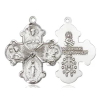 4 Way Medal - Pewter - 1-1/8 Inch Tall x 7/8 Inch Wide