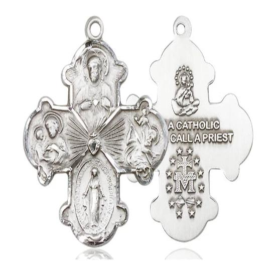 4 Way Medal - Sterling Silver - 1-1/8 Inch Tall x 7/8 Inch Wide