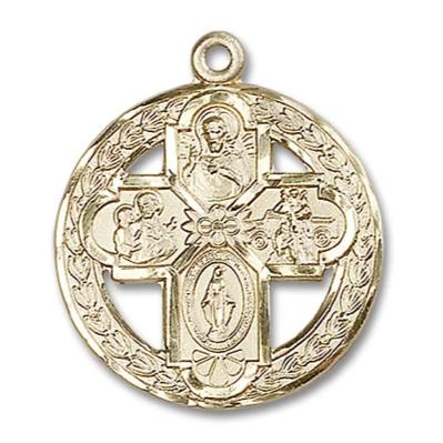 5 Way Medal - 14K Gold Filled - 1-1/8 Inch Tall x 1 Inch Wide