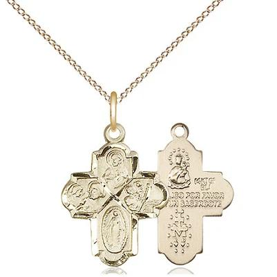 "4 Way Medal Necklace - 14K Gold Filled - 3/4 Inch Tall by 1/2 Inch Wide with 18"" Chain"