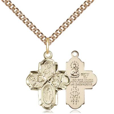"4 Way Medal Necklace - 14K Gold Filled - 3/4 Inch Tall by 1/2 Inch Wide with 24"" Chain"