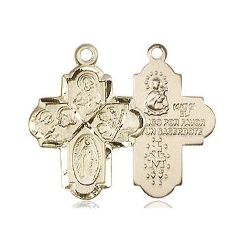 4 Way Medal - 14K Gold Filled - 3/4 Inch Tall x 1/2 Inch Wide