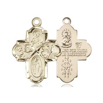 4 Way Medal - 14K Gold - 3/4 Inch Tall x 1/2 Inch Wide