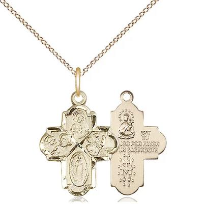 "4 Way Medal Necklace - 14K Gold - 3/4 Inch Tall by 1/2 Inch Wide with 18"" Chain"