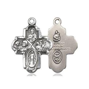 4 Way Medal - Sterling Silver - 3/4 Inch Tall x 1/2 Inch Wide