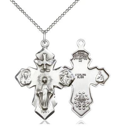 "4 Way Medal Necklace - Sterling Silver - 1-1/4 Inch Tall by 7/8 Inch Wide with 18"" Chain"