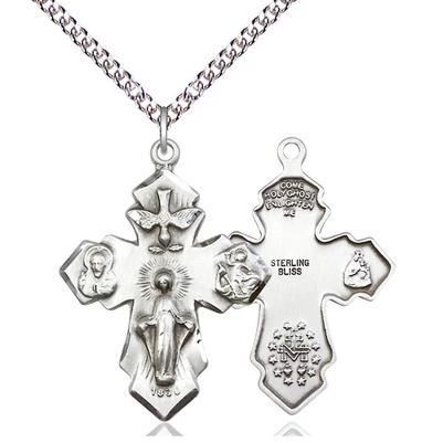 "4 Way Medal Necklace - Sterling Silver - 1-1/4 Inch Tall by 7/8 Inch Wide with 24"" Chain"