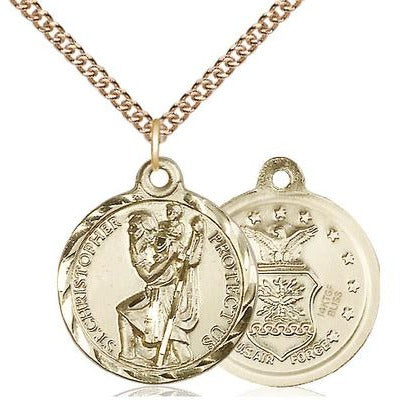 "St. Christopher Air Force Medal Necklace - 14K Gold Filled - 7/8 Inch Tall x 3/4 Inch Wide with 24"" Chain"