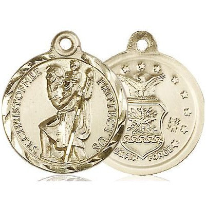 "St. Christopher Air Force Medal Necklace - 14K Gold - 7/8 Inch Tall x 3/4 Inch Wide with 24"" Chain"