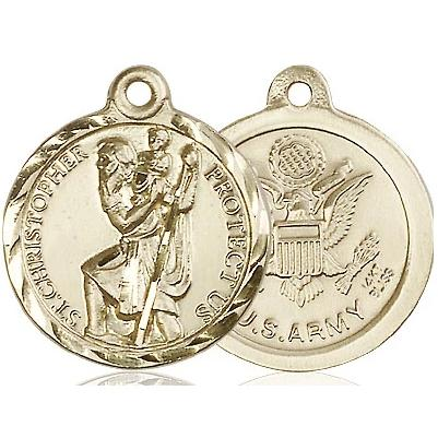St. Christopher Army Medal - 14K Gold - 7/8 Inch Tall x 3/4 Inch Wide
