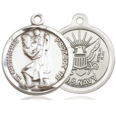 St. Christopher Navy Medal - Pewter - 7/8 Inch Tall x 3/4 Inch Wide