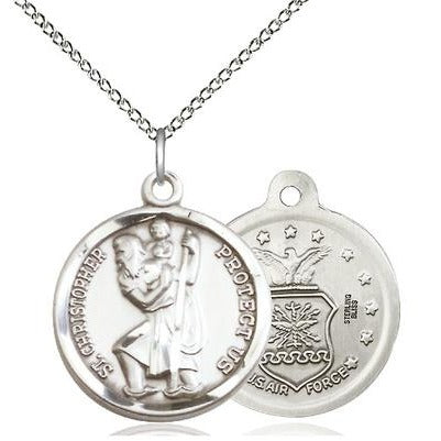 "St. Christopher Air Force Medal Necklace - Sterling Silver - 7/8 Inch Tall x 3/4 Inch Wide with 18"" Chain"