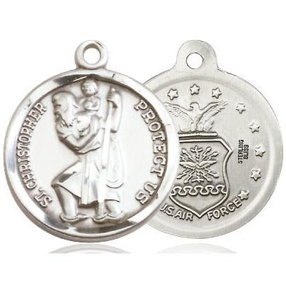 St. Christopher Air Force Medal - Sterling Silver - 7/8 Inch Tall x 3/4 Inch Wide