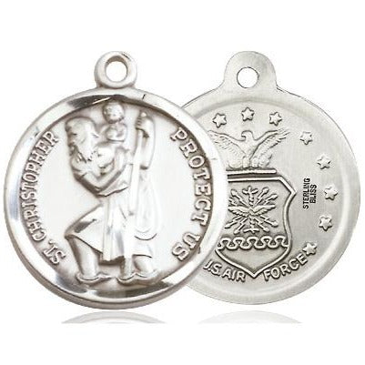 "St. Christopher Air Force Medal Necklace - Sterling Silver - 7/8 Inch Tall x 3/4 Inch Wide with 24"" Chain"