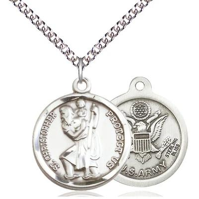 "St Christopher Army Medal Necklace - Sterling Silver - 7/8 Inch Tall x 3/4 Inch Wide with 24"" Chain"