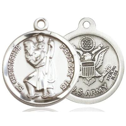 "St. Christopher Army Medal Necklace - Sterling Silver - 7/8 Inch Tall x 3/4 Inch Wide with 18"" Chain"