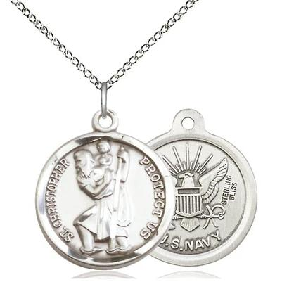 "St. Christopher Navy Medal Necklace - Sterling Silver - 7/8 Inch Tall x 3/4 Inch Wide with 18"" Chain"