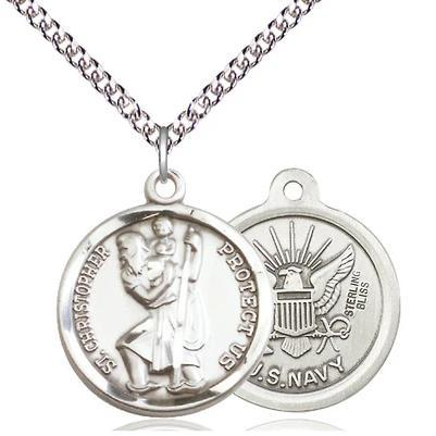 "St. Christopher Navy Medal Necklace - Sterling Silver - 7/8 Inch Tall x 3/4 Inch Wide with 24"" Chain"