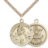 "St. Joan of Arc Army Medal Necklace - 14K Gold Filled - 7/8 Inch Tall x 3/4 Inch Wide with 24"" Chain"