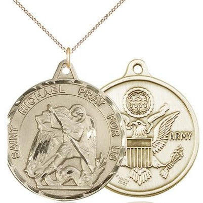 "St. Michael Army Medal Necklace - 14K Gold Filled - 1-3/8 Inch Tall x 1-1/4 Inch Wide with 18"" Chain"