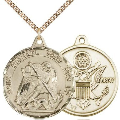 "St. Michael Army Medal Necklace - 14K Gold Filled - 1-3/8 Inch Tall x 1-1/4 Inch Wide with 24"" Chain"
