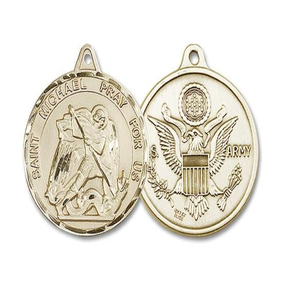 St. Michael Army Medal - 14K Gold Filled - 1-3/8 Inch Tall x 1-1/4 Inch Wide