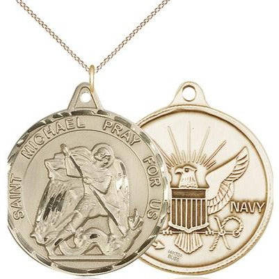 "St. Michael Navy Medal Necklace - 14K Gold Filled - 1-3/8 Inch Tall x 1-1/4 Inch Wide with 18"" Chain"