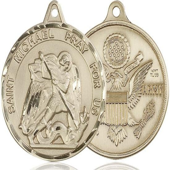 St. Michael Army Medal - 14K Gold - 1-3/8 Inch Tall x 1-1/4 Inch Wide
