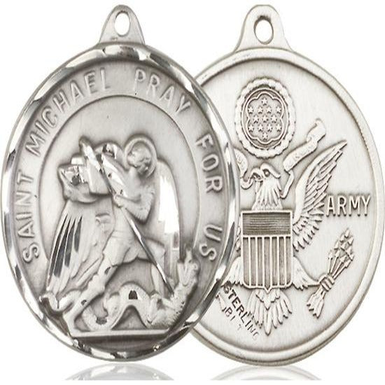 "St. Michael Army Medal Necklace - Sterling Silver - 1-3/8 Inch Tall x 1-1/4 Inch Wide with 24"" Chain"