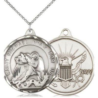 "St. Michael Navy Medal Necklace - Sterling Silver - 1-3/8 Inch Tall x 1-1/4 Inch Wide with 18"" Chain"
