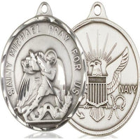 St. Michael Navy Medal - Sterling Silver - 1-3/8 Inch Tall x 1-1/4 Inch Wide