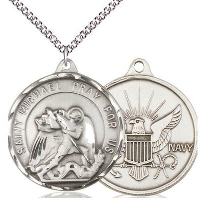 "St. Michael Navy Medal Necklace - Sterling Silver - 1-3/8 Inch Tall x 1-1/4 Inch Wide with 24"" Chain"