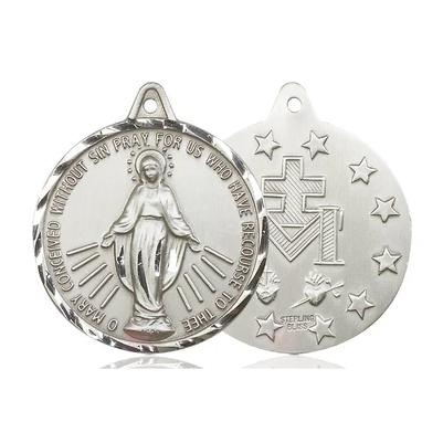 Miraculous Medal - Pewter - 1-3/8 Inch Tall by 1-1/4 Inch Wide