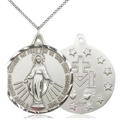 "Miraculous Medal Necklace - Sterling Silver - 1-3/8 Inch Tall by 1-1/4 Inch Wide with 18"" Chain"
