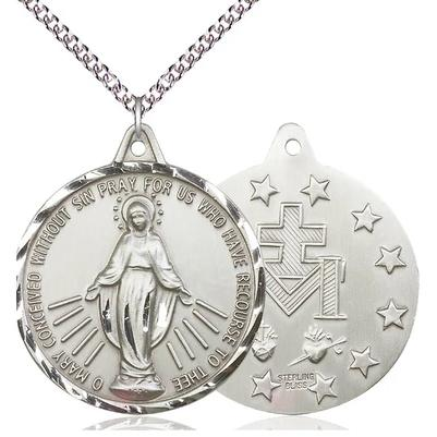 "Miraculous Medal Necklace - Sterling Silver - 1-3/8 Inch Tall by 1-1/4 Inch Wide with 24"" Chain"