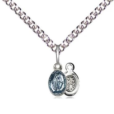 "Miraculous Medal Necklace - Sterling Silver - 1/4 Inch Tall by 1/8 Inch Wide with 24"" Chain"