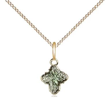 "4 Way Medal Necklace - 14K Gold - 3/8 Inch Tall by 1/4 Inch Wide with 18"" Chain"