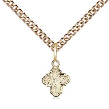 "4 Way Medal Necklace - 14K Gold - 3/8 Inch Tall by 1/4 Inch Wide with 24"" Chain"