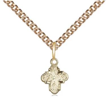 "4 Way Medal Necklace - 14K Gold Filled - 3/8 Inch Tall by 1/4 Inch Wide with 24"" Chain"