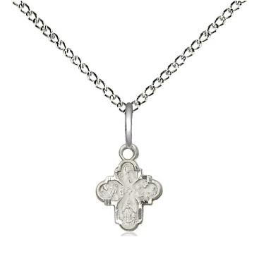 "4 Way Medal Necklace - Sterling Silver - 3/8 Inch Tall by 1/4 Inch Wide with 18"" Chain"